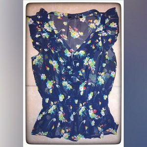Forever 21 Navy Blue Sheer Floral Tank Top Sz S